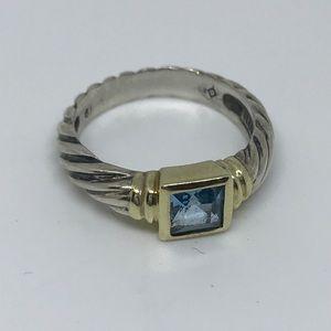 David Yurman Sterling Silver & 14K Gold Ring Sz 6